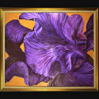 Black Iris, Floral Oil Painting created by Carol S Sakai
