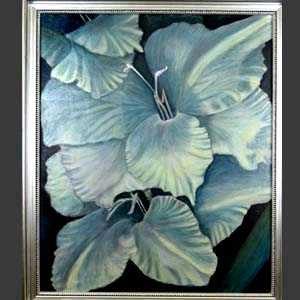 Moody Blues, Floral Oil Painting created by Carol S Sakai