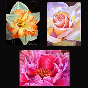Small Floral Oil Paintings created by Carol S Sakai